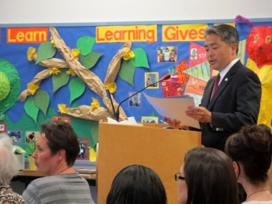 Assemblymember Al Muratsuchi speaks to the Redondo Beach Board of Education in April. Photo by Rachel Reeves