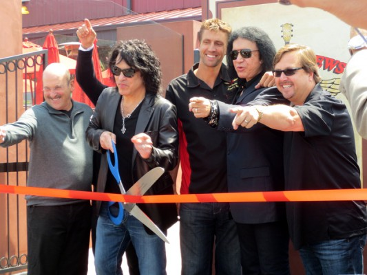 The Rock & Brews team - Dell and Dave Furano, Paul Stanley, Jon Mesko, Gene Simmons, and Michael Zislis. Photo by Rachel Reeves