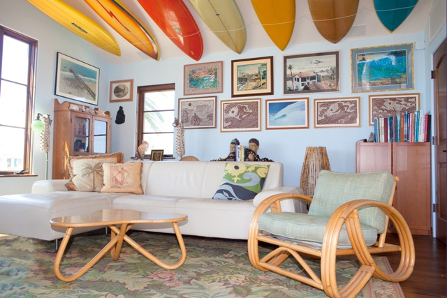 "The Shoemakers' family room and its ""surfboard ceiling."""