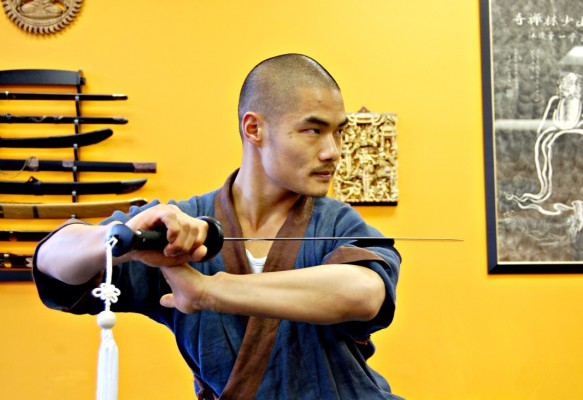 Shifu Wang Bo, 24, practices Shaolin-style Kung Fu at his martial arts studio in Rolling Hills Estates. Photos by esther Kang