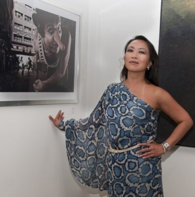 """""""New Beginning,"""" which opened last Saturday at Ego Fine Arts was curated in part by Emiko Wake (pictured), in conjunction with John Cantu. Photo by Gloria Plascencia"""