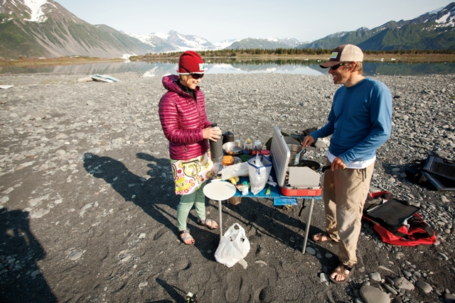 Camping and cooking at Bear Glacier.