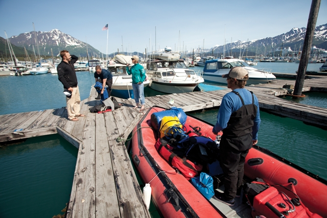 Loading gear at the harbor in Seward, Alaska before departing for Bear Glacier.