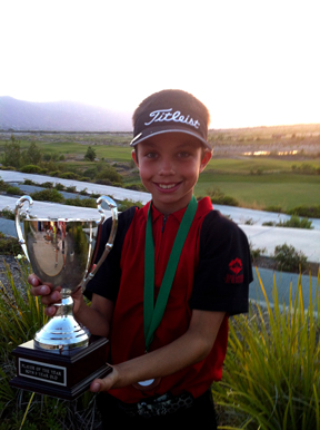 Hermosa Beach 9-year-old Tanner Stewart aims for a golf career while training at The Lakes in El Segundo. Photo courtesy of Dunham Stewart
