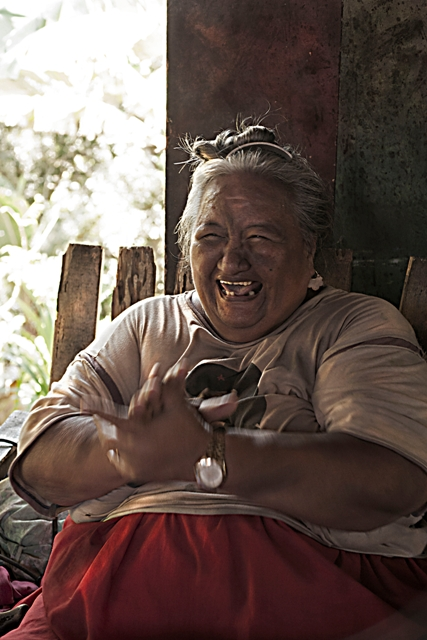 The writer's aunty, Patikura Jim, a prolific tivaivai (quilt) maker on the island of Atiu. Photo by Brie Zeman