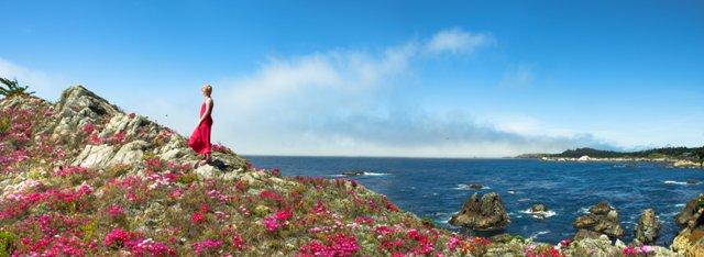 Junior bridesmaid Morgan Cotter-Eaton takes a moment to reflect overlooking Carmel Bay.