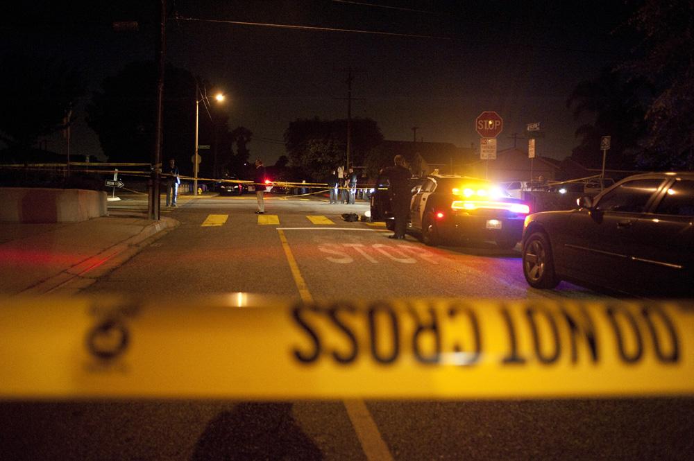 Police tape blocks off the scene of Bobby Reynolds' murder. Photo