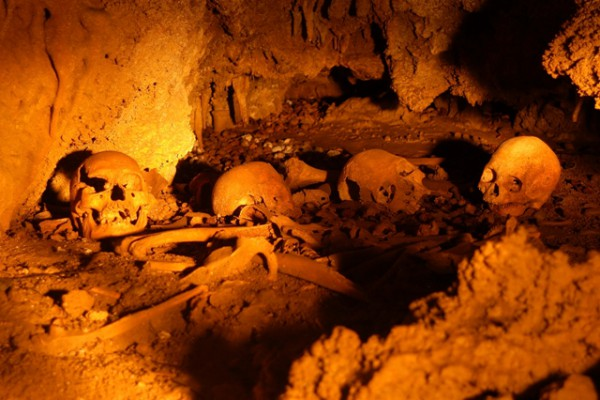 The Atiuans used to bury their dead in caves. Pictured are skulls and bones resting in Rimarau burial cave. Touching them is prohibited.  Photo by Noel Bartley