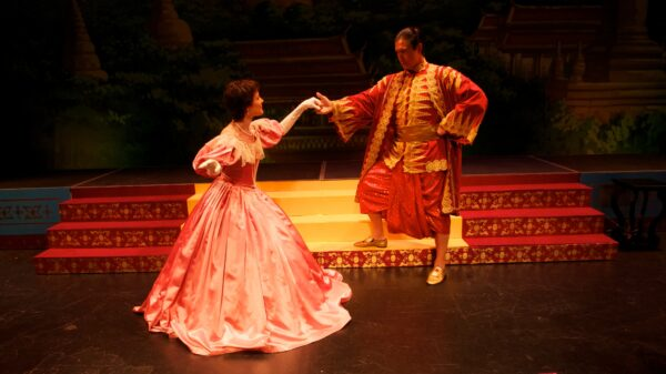Cathryn Starr as Anna Leonowens and Ron Banks as The King of Siam. Photo by Kris Maine