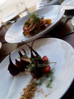 """The octopus was firing on all cylinders."" Shown with a beet salad. Photo by Richard Foss"