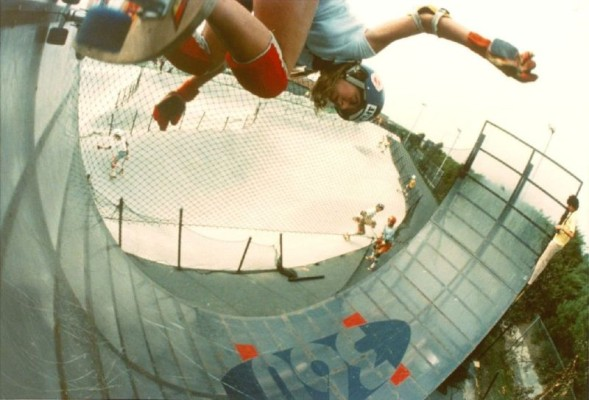 Cindy Whitehead doing a backside on a Plexiglas half-pipe at Fountain Valley Skate Park in 1978. Photo by Bruce Hazelton