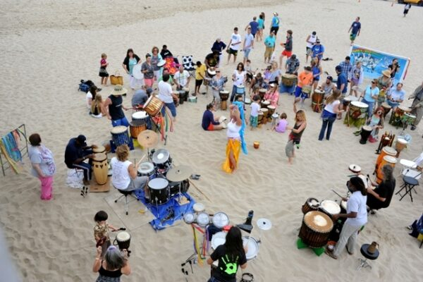The Free To Be Me Drum Circle celebrated its tenth anniversary last Sunday beside the Hermosa Beach Pier. Photo by Chelsea Sektnan