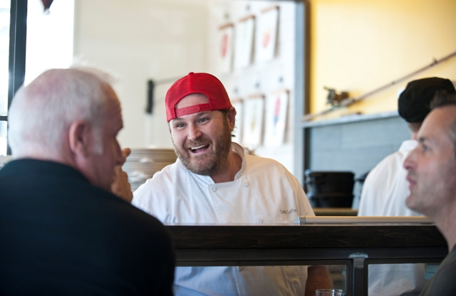 Chef David LeFevre at his newest restaurant in Manhattan Beach, Fishing With Dynamite. Photo by Chelsea Sektnan