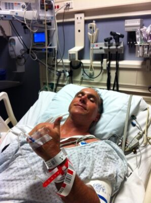 Bill Fournell, school board member and former board president, hospitalized at UCLA Medical Center last week. Photo courtesy of Grettel Fournell