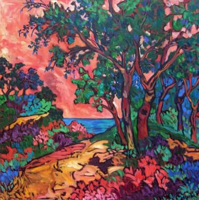 """Lynnie Sterba's paintings – """"Nature Illuminated"""" – are on view through the end of August in the real estate office at 403 W. Sixth St., San Pedro. Pictured, """"Nature's Window."""" (310) 318-6858 or go to LynnieSterbaArt.com"""