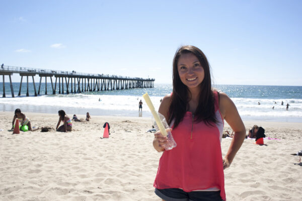 Stefanie Strobel found a message in a bottle floating in the water by the Hermosa Beach pier on Wednesday night. Photo