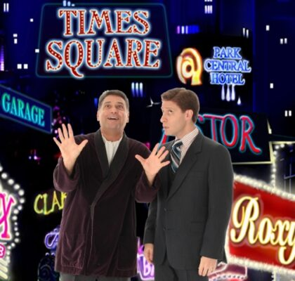 """Nick Santa Maria as Max Bialystock and Marc Baron Ginsburg as Leo Bloom in """"The Producers."""" Photo by Clix Portrait Studios"""