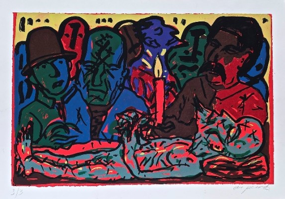 Lenin on his deathbed, art by A.R. Penck