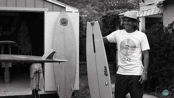 Sean at his inland desert oasis of vintage boards. Photo by Adam Reynolds of Bhbsurf.com