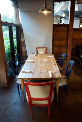 The Coopers' own family table adds an intimate touch to the patio.
