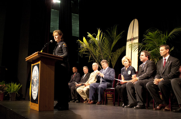 The new Hermosa Beach Police Chief Sharon Papa thanks the community for their support. Photo by Chelsea Sektnan