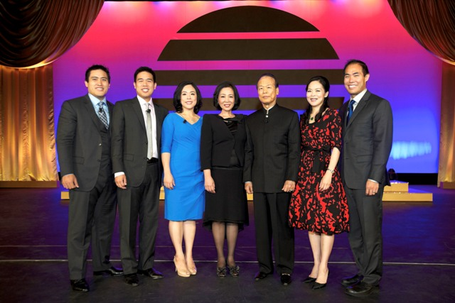 Dr. Oi-Lin and Dr. Tei-Fu Chen with children Jonathan Chen, Eric Chen, Sunny Buetler, Wendy Teng and Dr. Reuben Chen at the 2012 Sunrider 30th Anniversary Grand Convention in Long Beach. Photo courtesy of Sunrider International