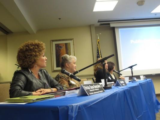 Ericka Soza-Gonzalez, Ardis Shubin, Marci Fukuroda, and Michele Daniels at Monday's domestic violence hearing. Photo by Rachel Reeves