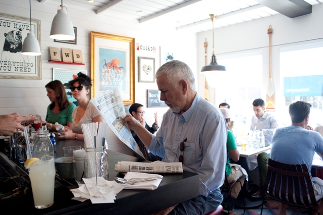 """Diner William Bordages is a FWD convert. """"Gonna be my new favorite spot,"""" he said. Photo by Chelsea Sektnan"""
