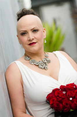 Rosanna Savone, 37, was diagnosed with Alopecia nine years ago, losing all her hair just months before her wedding day. Photo by John D. Russell Photography