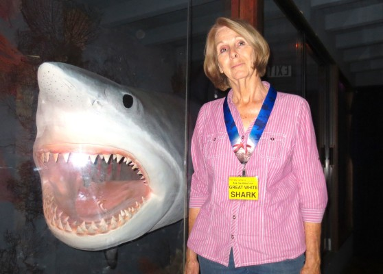 Judy Milner with Georgette, the 16.5-foot shark that's been a Redondo Pier institution for decades. Photo