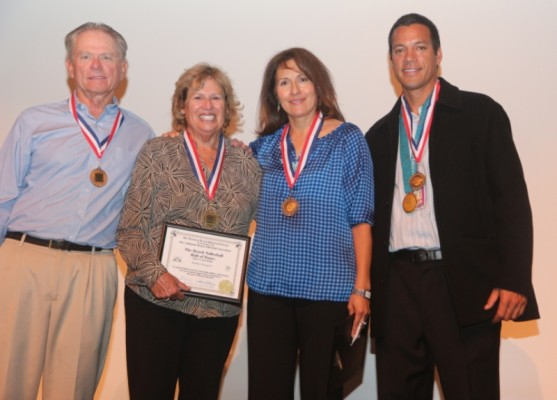 1992 inductee Kathy Gregory (second from left) with 2013 Inductees Buzz Swarts, Patty Dodd and Eric Fonoimoana.