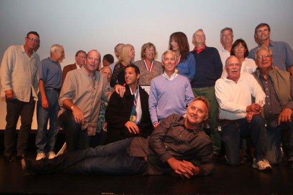 California Beach Volleyball Hall of Famers (left to right, top row) Mike Dodd, Matt Gage, George Stephanof, Sinjin Smith, Buzz Swarts, Janice Harrer, Kathy Gregory, Patty Dodd, Mike O'Hara, Denny Smith, Dane Selznick and Gary Hooper. (Bottom row, left to right) Tim Hovland, Mike Cook, Eric Fonoimoana, Steve Obradovich, Kevin Cleary, Gene Popko and Butch May. Photo by Kevin Cody