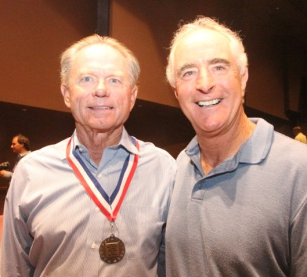 Inductee Buzz Swarts and Matt Gage. The two won five open tournaments together, including the Manhattan Beach Open.