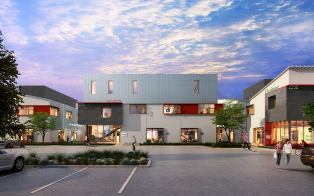 An artist's rendering of one of the 17 buildings comprising the Elevon development, courtesy Ehrlich Architects and Ware Malcolm Architects.
