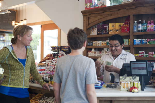 Carly Buck and Zander Levy, 12, shop at the Green Store on Tuesday. Photo by Chelsea Schreiber