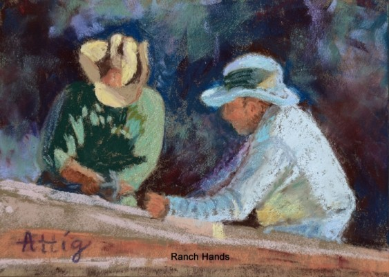 """""""The Still Wild West"""" is a series of pastels by Lynn Folse Attig that honor the beauty and traditions of California ranch life, and they go on view Saturday with a reception from 5 to 9 p.m. at 608 North, the art gallery located at 608 N. Francisca Ave., Redondo Beach. The work is up through Jan. 26 and the hours are 11 a.m. to 7 p.m. Thursday through Saturday, and 11 a.m. to 4 p.m. on Sunday. Pictured, """"Ranch Hands."""" (310) 376-5777 or go to 608north.com"""