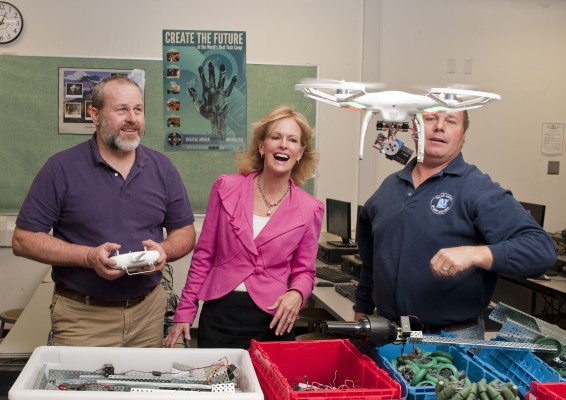 PV Intermediate STEM (science, technology, engineering, math) teachers Scott Garman (l) and Kurt Hay demonstrate a thing or two  to Andrea Sala about how STEM is taking off at PVIS. Photo by David Fairchild
