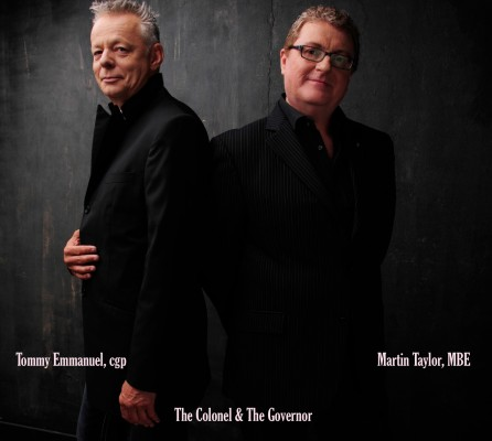 Tommy Emmanuel and Martin Taylor join forces onstage in Redondo Thursday night.