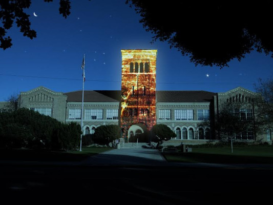 This is a mockup of what Monday's video mapping project at El Segundo High School may look like.