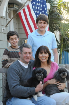 Howorth with her husband Mark, sons Ari and Jack and dogs Obi and Roxy.