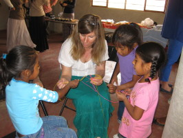 Cathi Lundy doing crafts with local girls in Oaxaca. Photos courtesy of Cathi Lundy