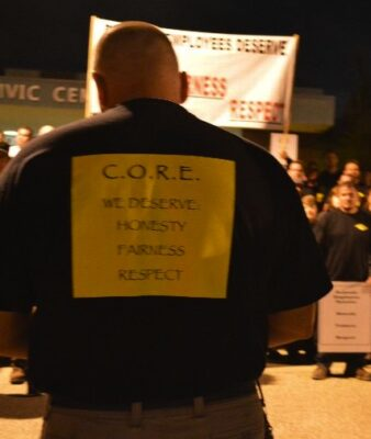 A C.O.R.E. (Coalition of Redondo Beach Employees) member demonstrates at a public meeting several months ago.
