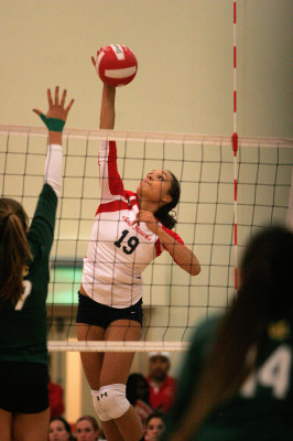 Redondo Union senior outside hitter Briana Lanktree plays much taller than her five-foot-10, as her Mira Costa opponents learned this year. Photo by Ray Vidal