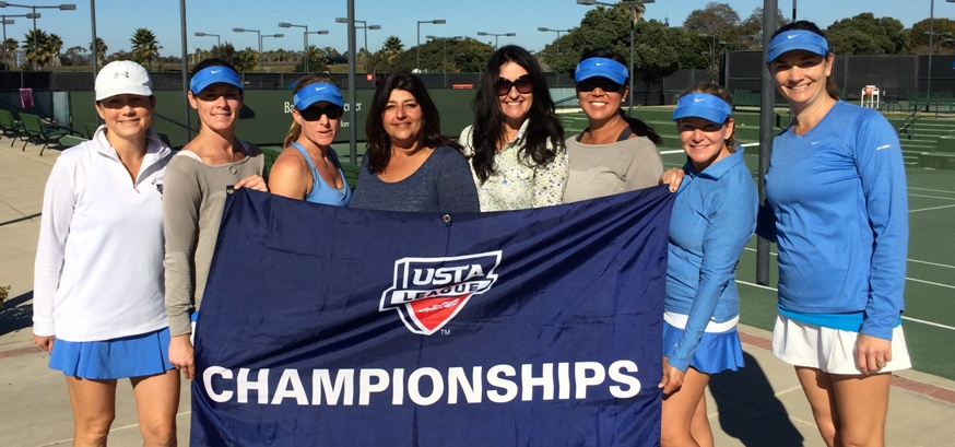 Manhattan Beach Country Club's 3.0 SCTA Doubles team won first place in Southern California at the Sectional Championships held at the Barnes Tennis Center in San Diego. The win marked the team's second Southern California Sectional Championship in the 2013 season. Team members include (left to right) Val Brunner, Amanda Kresser, Natalie Rogers, Ashita Johnson (Team Captain), Lanita Mac, Lisa Thompson, Paula Davis and Cat McComb. Not pictured: Jennifer Wilhelm (Co-Captain), Bernice Lake, Haruko Froeb, Angela Nelson and Stephanie Green. Photo courtesy of Ashita Johnson