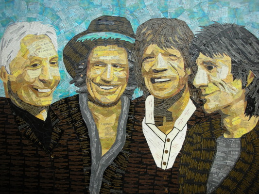 William Hoblik, a visiting artist from Florida, created this portrait of the Rolling Stones using wine labels. Courtesy of Janet Solisman