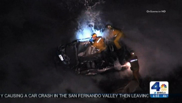 A KTLA screen capture of the rescue off Palos Verdes.