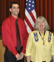 Ryan O'Kain of Parras Middle School with Fran Bock, regent of DAR.