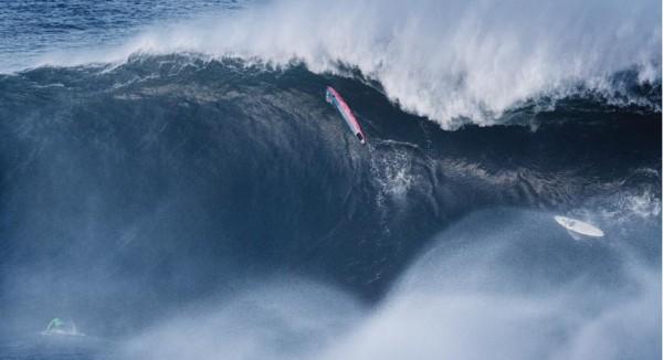 Certain vantage points show the true nature of Mavericks. Mark Healey bottom left. Photo by Mike Balzer