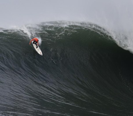 Shane Dorian charges into a ghastly one showing that he's one of the top big wave surfers in the world. Photo by Mark Kawakami