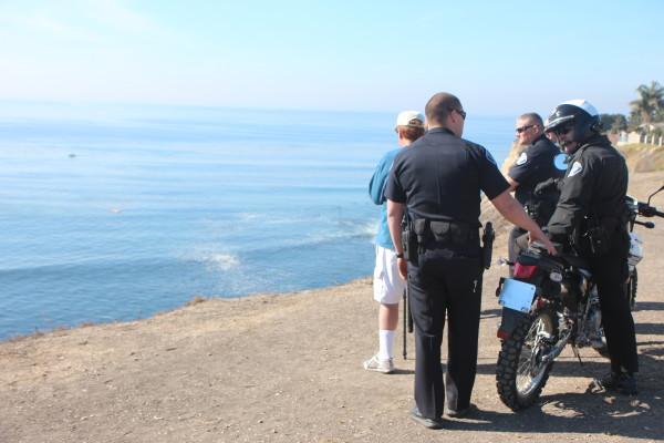 Palos Verdes Estates Police stationed at Lunada Bay on Jan. 20. Photo by Kevin Cody